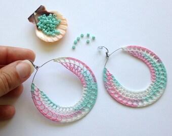 Pastel Colors Crochet Earrings, Bright Neon Threaded Earrings, Color Block Ombre Earrings, Melange Thread Bohemian Hippie Hoop Earrings