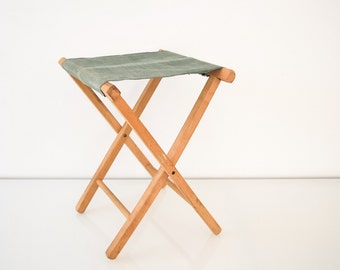 Camp Stool, Canvas Chair, Camping Chair, Folding Camping Stool, Classic  Wooden Folding