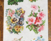 Wonderful new Violette Victorian pink roses flowers pansies bouquets stickers scrapbooking envelopes  card making crafts decoupage art