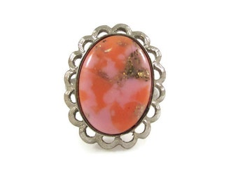 Unique Pink and Coral Marbled Ring with Gold Glitter Druzy Inlay - Adjustable