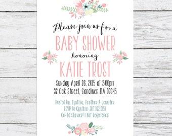 Floral Baby Shower Printable Invitation | Customizable PDF Shower Invite | Spring Shower Invitation