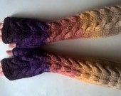 Multicolor ( purple, orange, yellow, beige ) fingerless gloves, wrist warmers, fingerless mittens. Handmade, knitted of PURE wool.