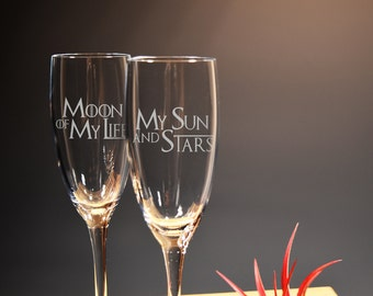 Game of Thrones, Moon and Stars, Wedding Flutes, Toasting Flutes, Etched Set of 2