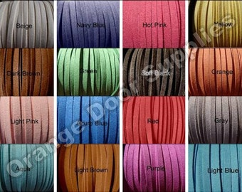 5mm Wide Faux Suede 50 Feet  5 x 1.5mm Mix and Match Colors