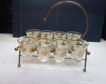 Eight Vintage Libbey Golden Foliage Shot Glasses With Caddy - Rock Sharpe
