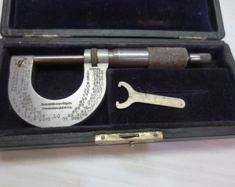 Vintage Brown & Sharpe #10 Micrometer With Case And Wrench