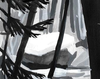 Nest - Archival Print, modern tree art, nature painting