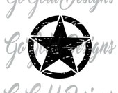 "Jeep Wrangler Oscar Mike Military Distressed Star Vinyl Decal 22"" x 22"""