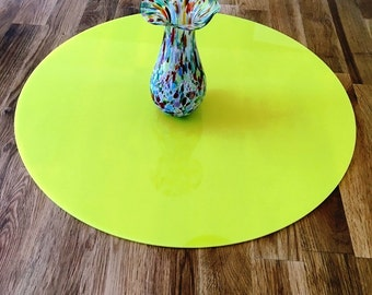 Round Worktop Saver in Yellow Acrylic - 3 Sizes Available