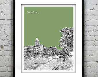 Reading Skyline Poster Art Print Pennsylvania PA