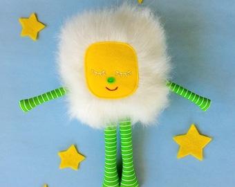 Stuffed Monster Toy, Soft Monster Toy, White Furry Monster, Gift for Boy