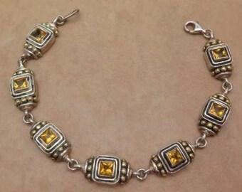 Silver Sterling 925 Vintage Tennis Bracelet Topaz Crystal Gold #628