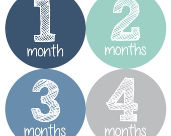 Baby Month Stickers, Monthly Baby Boy Stickers, Baby Month Milestone Stickers  - Baby Boy, Baby Shower Gift, Grey, Blue, Mint
