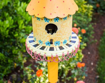 Hand Painted Yellow Sponged Birdhouse on Newel Post, Handpainted Polka Dot and Striped Bird House