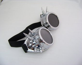 Silver Spiked Steampunk Goggles 4508