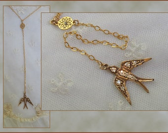BEAUTIFUL Bird Lariat Necklace Pendant .  Cut Crystal Connector . 14K Gold Filled Chain