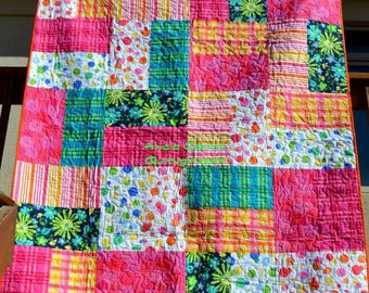 Bold and Bright Modern Quilt - Pinks, Greens, Polka Dots, Geometrics and more
