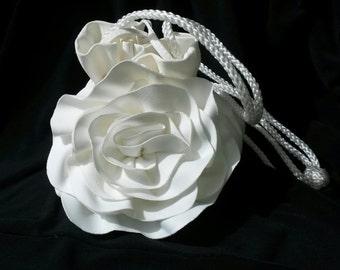Flower girl purse, white satchel, wedding dance money purse