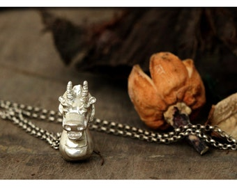 Dragon necklace - solid silver charm - handmade s990 pendant - sterling silver chain  - gift for the year of dragon