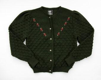 vintage sweater // Silber Distel Trachten Austrian cardigan sweater // size M, L