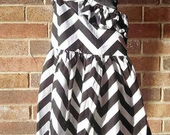 Black Chevron one shoulder dress