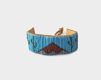 Leather Wrist Cuff - Blue - Leather Cuff - Arizona