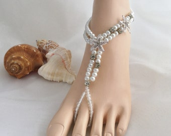 Bridal Barefoot Sandals Starfish Beach Wedding, Bridal Foot Jewelry, Rhinestone Barefoot Sandle White Pearls Barefoot Sandals