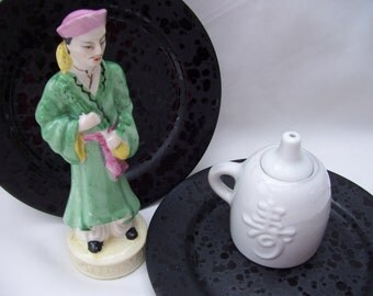 Asian Man Figurine, Oriental, Green,Pink, Made in Japan