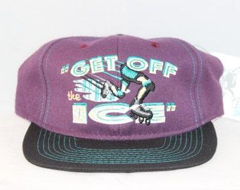 "Vintage Deadstock ""Get Off The Ice"" Roller Hockey Snapback Hat"