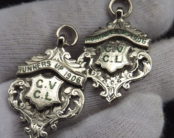 Matching Pair of Antique Sterling Silver Albert Watch Chain Fobs by Lloyd Paine & Amiel 1906
