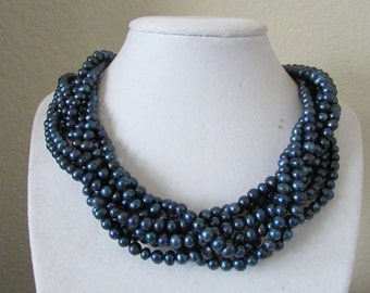 8 Twisted Black Potato  Pearl Necklace,Black Pearl necklace,Pearl Necklace,Potato Pearl Necklace,Fresh Water Pearl