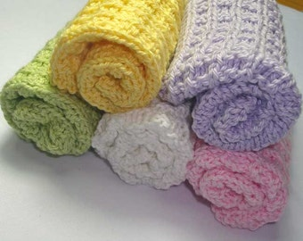 Handmade Knitted Pure Cotton Face or Wash Cloths - 1 piece