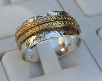 Silver and Gold Ring Wedding Band sterling silver 925 & Gold 14K Handmade Artisan Spinners Band  Women Size 8 Free Shipping