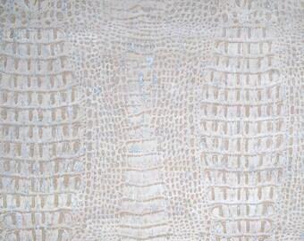 Natural Cork Fabric - Croco White