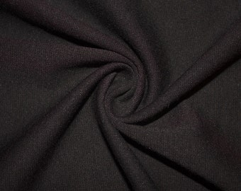 """Black Ponte Di Roma Double Knit Polyester Spandex Lycra Stretch Medium Weight Apparel Craft Fabric 58""""-60"""" Wide By The Yard"""