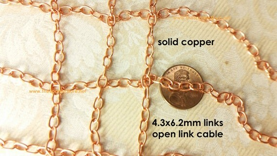 Solid Copper Wire Ampacity : Solid copper chain cable style raw metal link size mm x