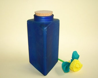 Old Cobalt Glass Bottle for Home Photo Decor. Frosted glass bottle. 3 Sided. Triangle shaped blue glass bottle with cork