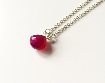 Hot Pink Chalcedony Teardrop   faceted chalcedony teardrop pendant necklace
