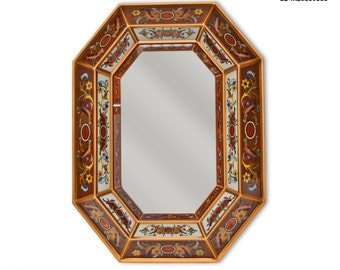Large Decorative wall Mirror, 'Colonial Night' - Mirrors Home Decor - Bathroom Mirror - Peruvian Mirrors - Reverse Painted Glass Style