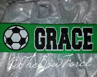 Soccer Glitter Headband with name