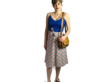 Vintage 70s sundress // 1970s blue strappy summer dress // 70s sundress // A line checked dress // small