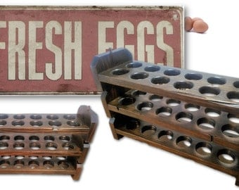 Reclaimed Wood Egg Holder Stackable Tray Rustic Food Organizer Storage Easter Farmhouse Vintage Country Kitchen Decor Retail Display Foodie