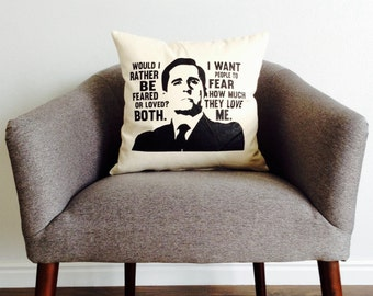 "The Office TV SHOW Michael Scott ""Feared or Loved"" Pillow -Home Decor, Gift for Him, Boss, Best Boss, Grad Gift, Pillow Cover, Cushion Cover"