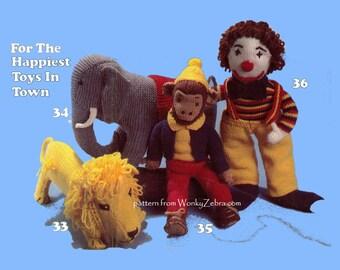 Vintage Knit Happy Toys Patterns PDF 514 knitting knitted from ToyPatternLand by WonkyZebra