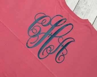 Spirit Jersey Monogram Oversized Coral Turquoise