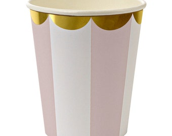 Light Pink Stripe Paper Cups (Pack of 8) - Meri Meri Toot Sweet Dusty Pink Party Cups (Hot or Cold Beverages)