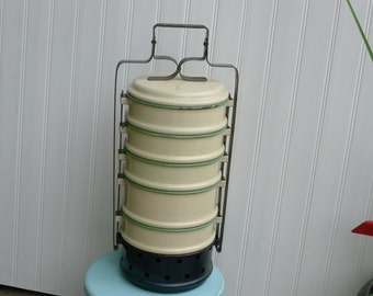 RARE Kockums enamel stacking food warmer