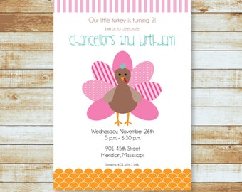 Personalized Birthday Invitation / Turkey / Thanksgiving