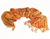"Orange crinkle scarf - crinkle scarf - rayon scarf - fringe scarf - orange, gold, yellow -  hand dyed - 20"" x 70"" - sunny spring scarf"