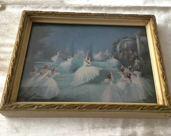 Sweet little framed ballet scene picture with cream and gold gilded frame